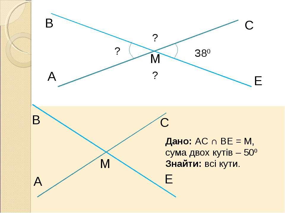 A В М С Е 380 ? ? ? Дано: АС ∩ ВЕ = М, сума двох кутів – 500 Знайти: всі кути.