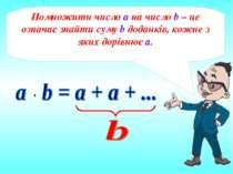 Помножити число а на число b – це означає знайти суму b доданків, кожне з яки...