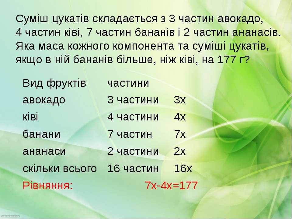 Суміш цукатів складається з 3 частин авокадо, 4 частин ківі, 7 частин бананів...