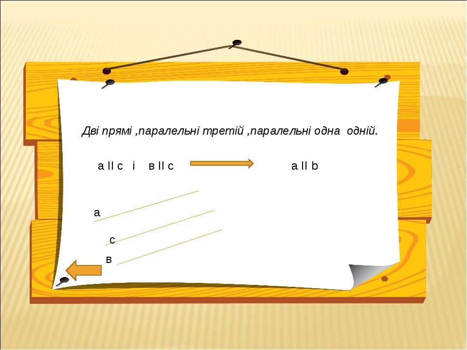 Дві прямі ,паралельні третій ,паралельні одна одній. а ІІ с і в ІІ с а ІІ b а...