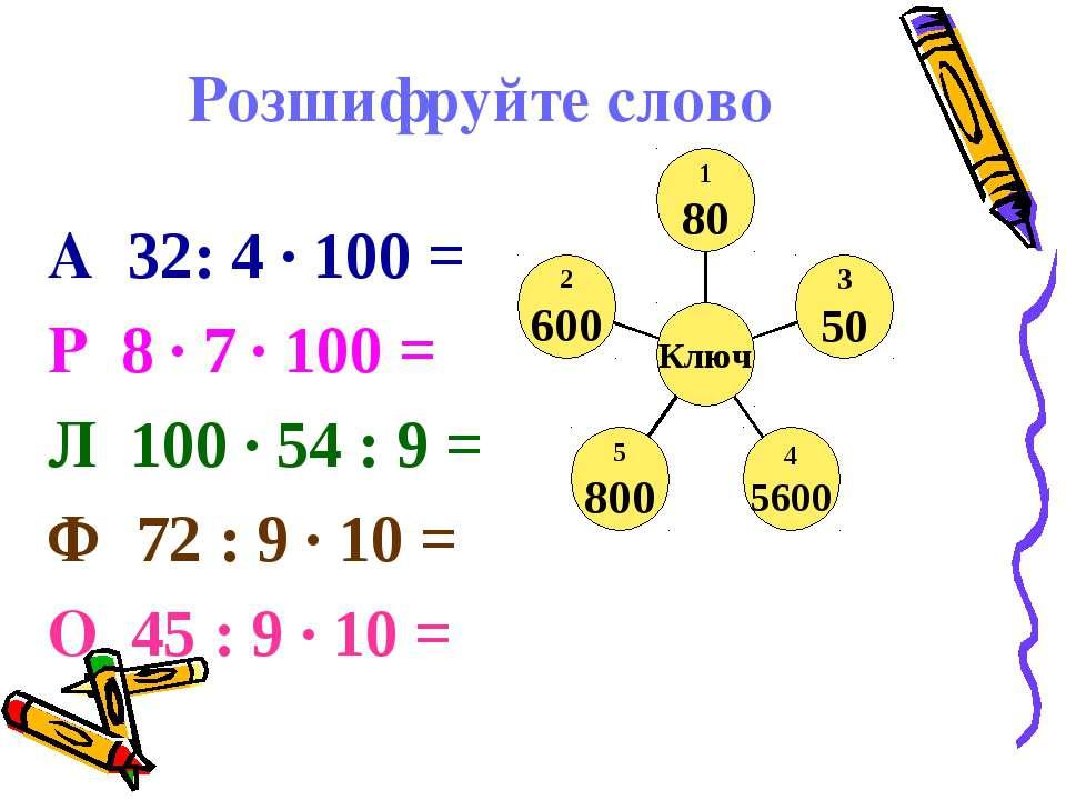 Розшифруйте слово А 32: 4 · 100 = Р 8 · 7 · 100 = Л 100 · 54 : 9 = Ф 72 : 9 ·...