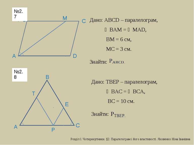D С В М А Дано: АВСD – паралелограм, ∠ВАМ = ∠МАD, ВМ = 6 см, МС = 3 см. Знайт...