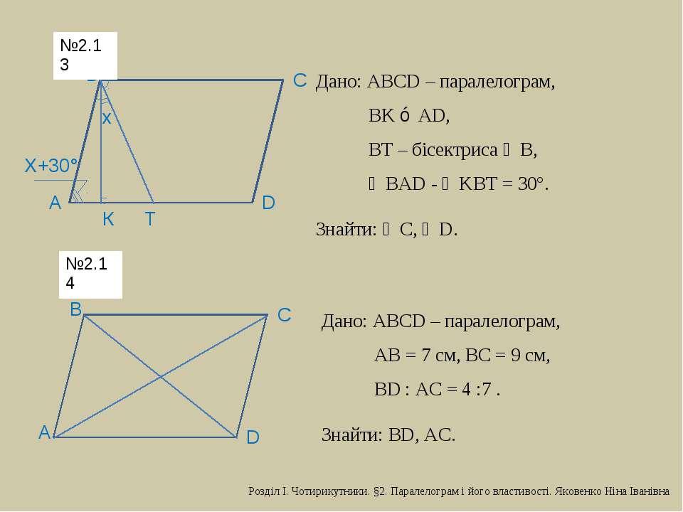 D С В А х Х+30° К Т Дано: АВСD – паралелограм, ВK ⊥ АD, ВТ – бісектриса ∠В, ∠...