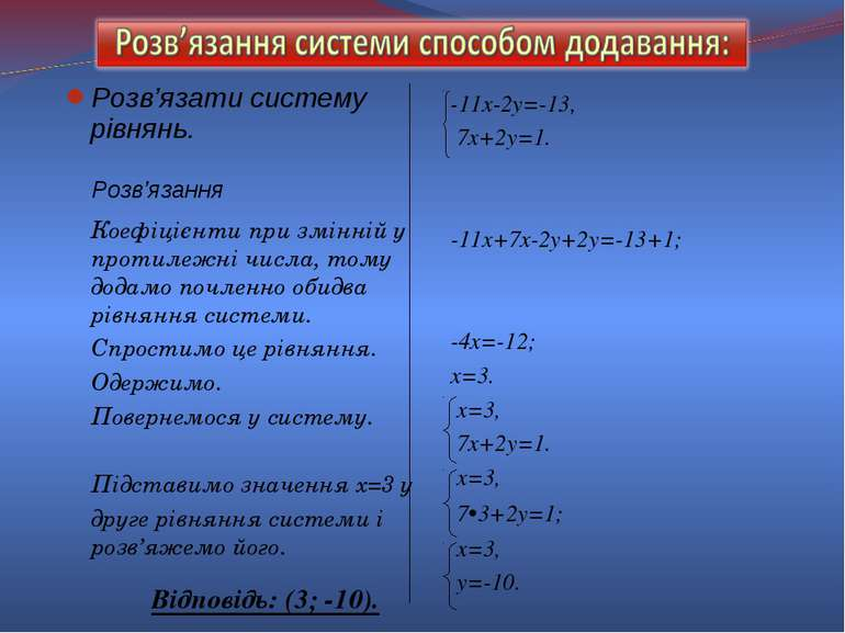Розв'язати систему рівнянь. -11х-2у=-13, 7х+2у=1. -11х+7х-2у+2у=-13+1; -4х=-1...