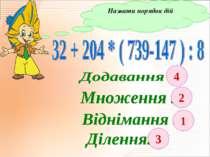 Назвати порядок дій 2 3 4 1