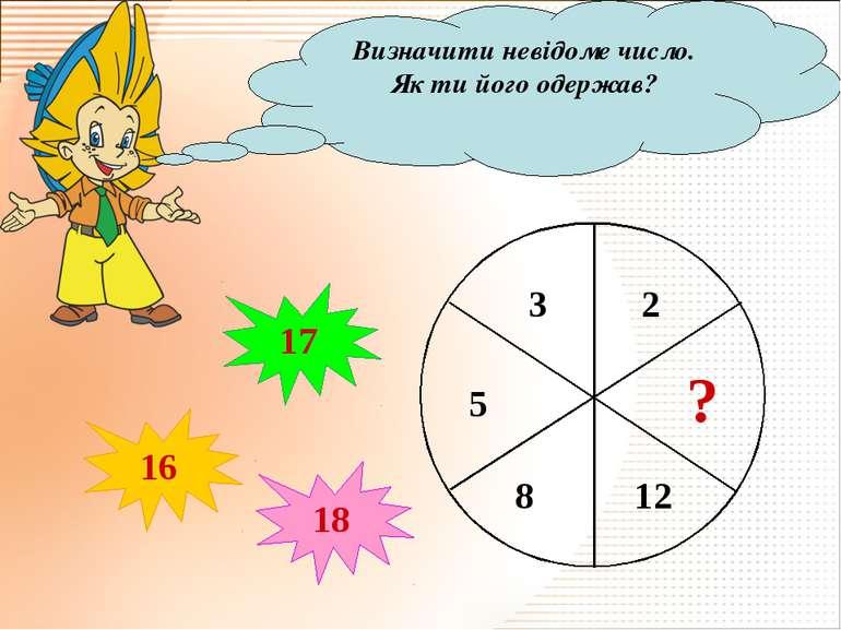 Визначити невідоме число. Як ти його одержав? ? 16 17 18
