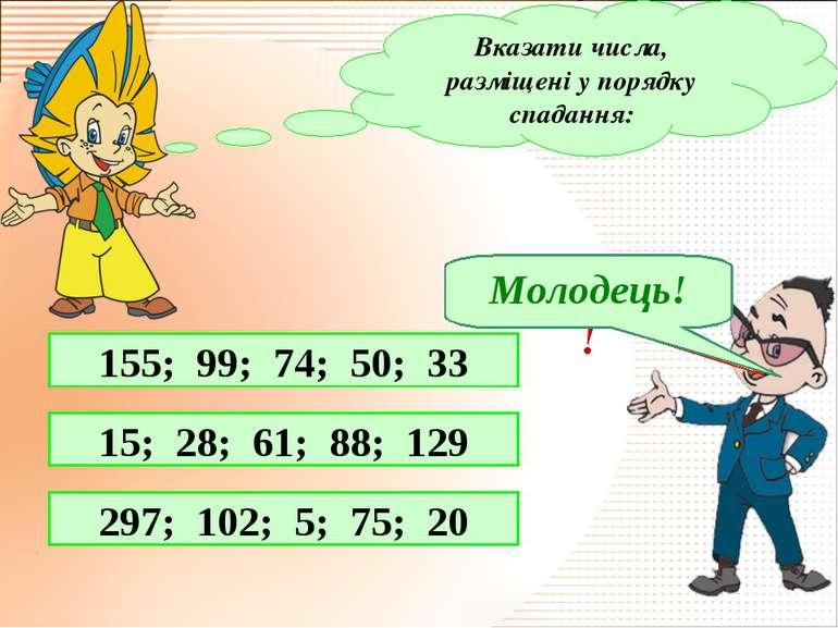 Вказати числа, разміщені у порядку спадання: 155; 99; 74; 50; 33 15; 28; 61; ...