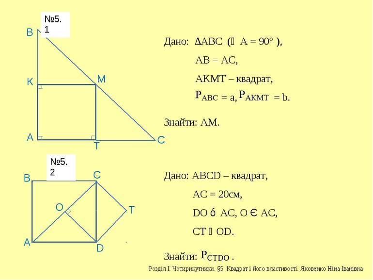 А В К М Т С Дано: ∆АВС (∠А = 90° ), АВ = АС, АKМТ – квадрат, = a, = b. Знайти...