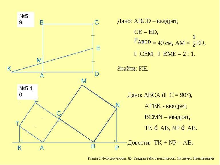 А В С D Е К М Дано: АВСD – квадрат, СЕ = ЕD, = 40 см, АМ = ED, ∠СЕМ : ∠ВМЕ = ...