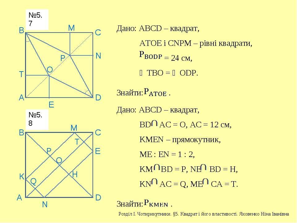 А В С D Р О М Е Т N Дано: АВСD – квадрат, АТОЕ і СNРМ – рівні квадрати, = 24 ...