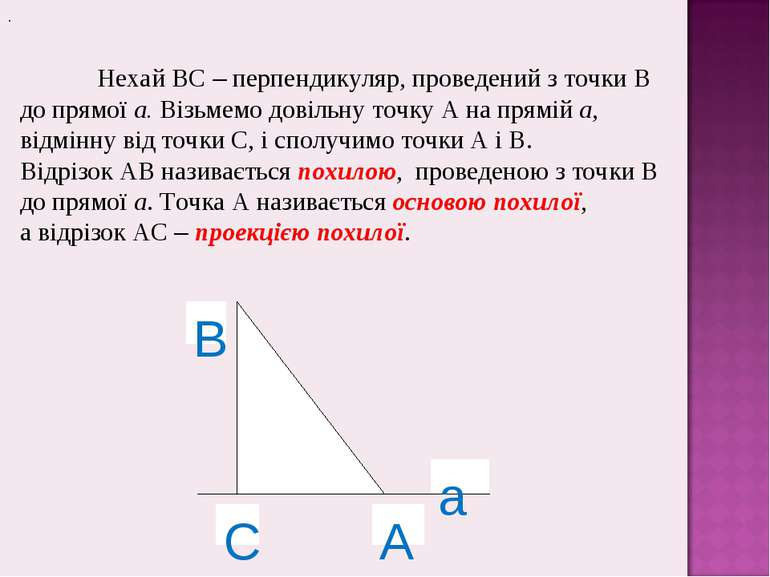. Нехай ВС – перпендикуляр, проведений з точки В до прямої а. Візьмемо довіль...