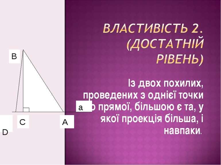 Із двох похилих, проведених з однієї точки до прямої, більшою є та, у якої пр...