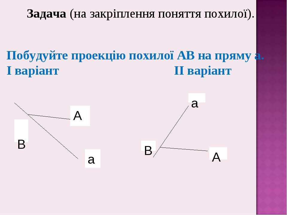 Задача (на закріплення поняття похилої). Побудуйте проекцію похилої АВ на пря...