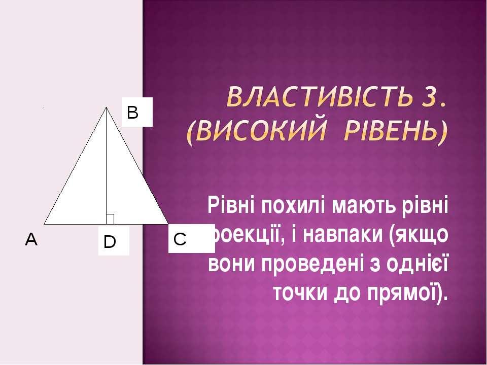 Рівні похилі мають рівні проекції, і навпаки (якщо вони проведені з однієї то...