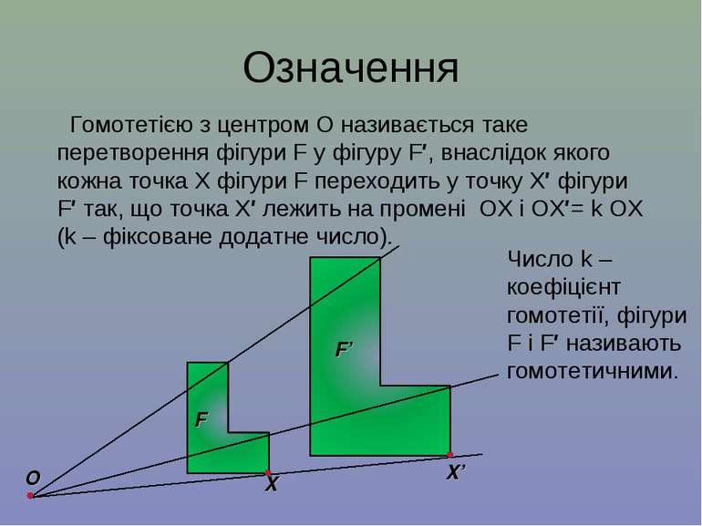 Означення Гомотетією з центром О називається таке перетворення фігури F у фіг...