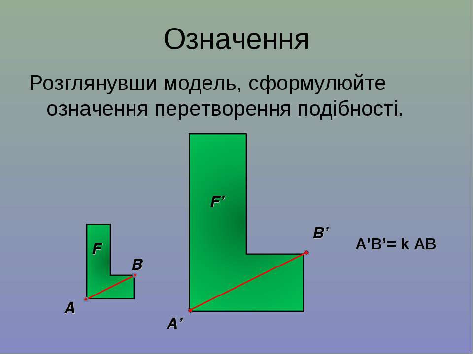 Означення Розглянувши модель, сформулюйте означення перетворення подібності. ...