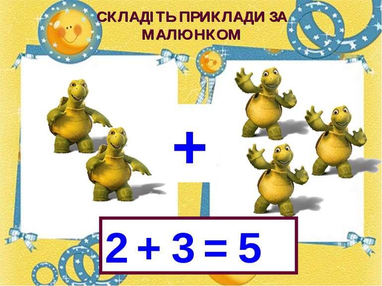 СКЛАДІТЬ ПРИКЛАДИ ЗА МАЛЮНКОМ + 2 + 3 = 5