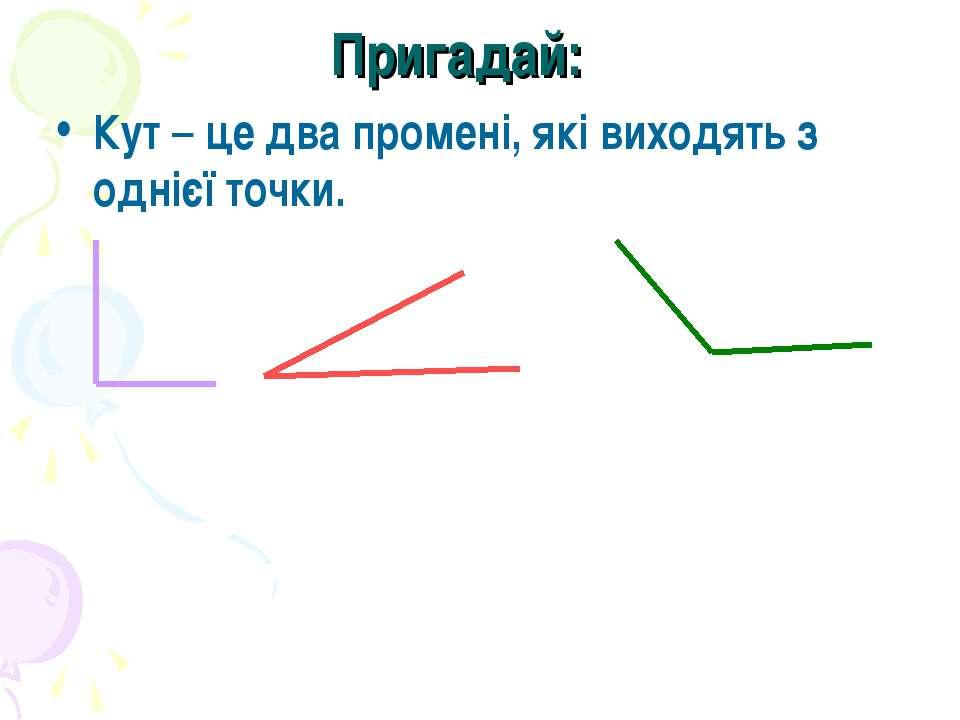 Пригадай: Кут – це два промені, які виходять з однієї точки.