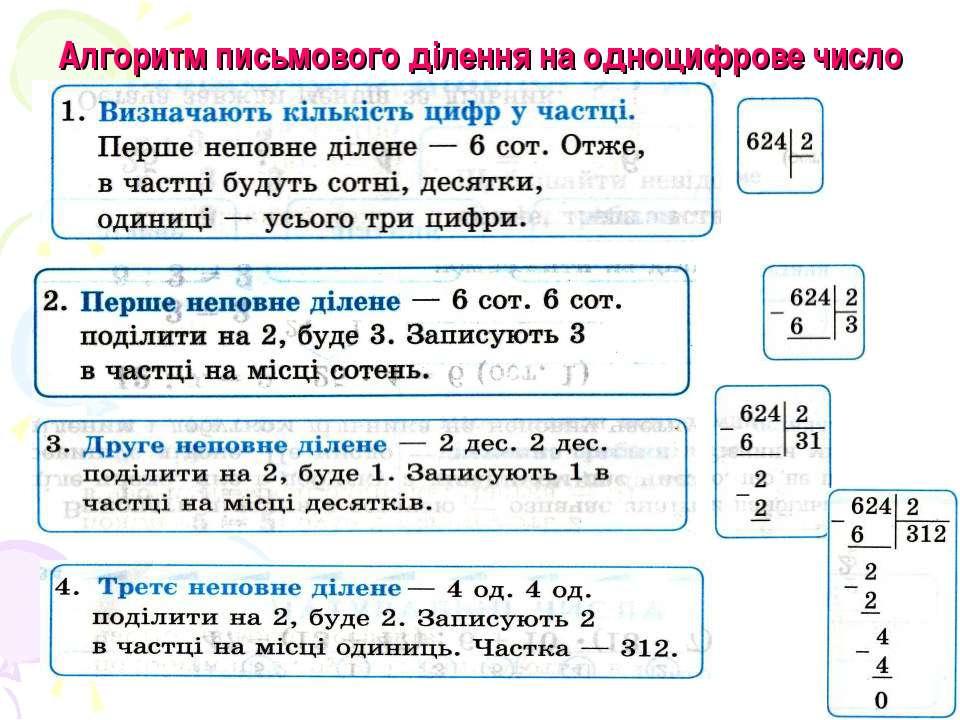 Алгоритм письмового ділення на одноцифрове число