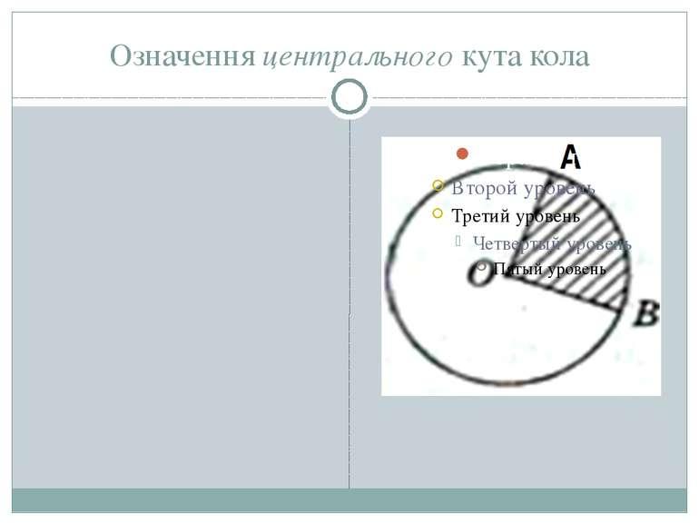 Означення центрального кута кола