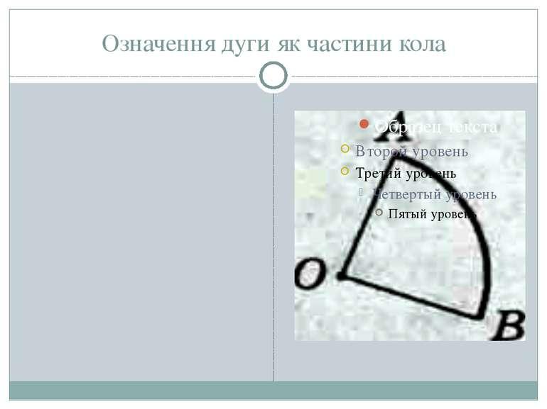 Означення дуги як частини кола