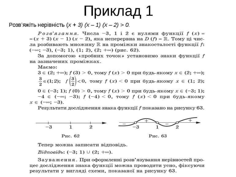 Приклад 1 Розв'яжіть нерівність (x + 3) (x – 1) (x – 2) > 0.