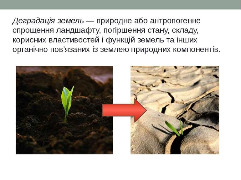 Деградація земель — природне або антропогенне спрощення ландшафту, погіршення...