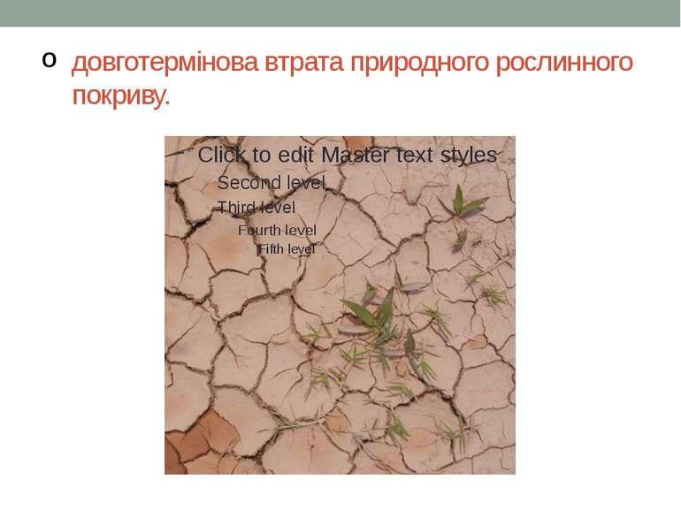 довготермінова втрата природного рослинного покриву.