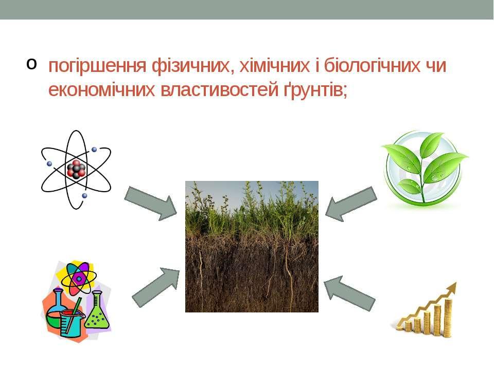 погіршення фізичних, хімічних і біологічних чи економічних властивостей ґрунт...
