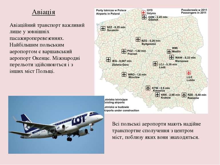 Авіація Авіаційний транспорт важливий лише у зовнішніх пасажироперевезеннях. ...