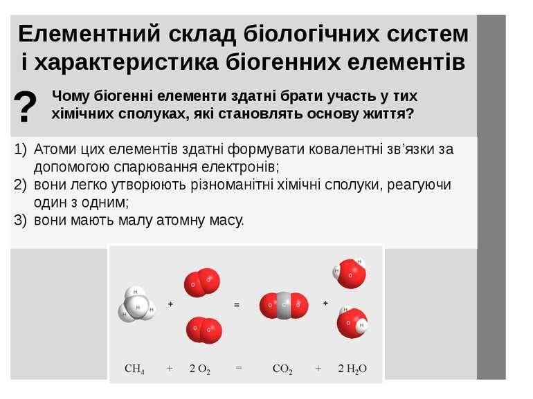 Елементний склад біологічних систем і характеристика біогенних елементів Атом...