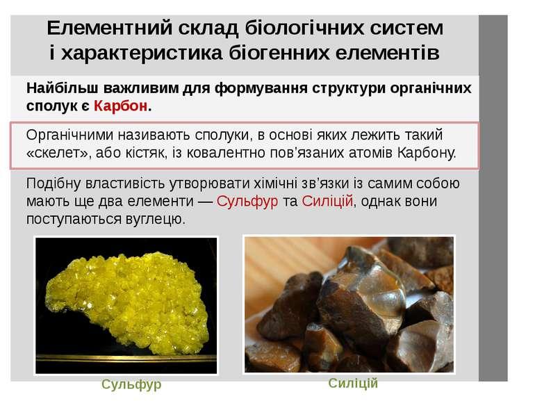 Найбільш важливим для формування структури органічних сполук є Карбон. Сульфу...