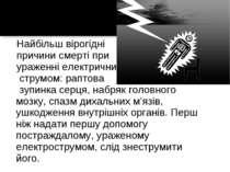 Найбільш вірогідні причини смерті при ураженні електричним струмом: раптова з...