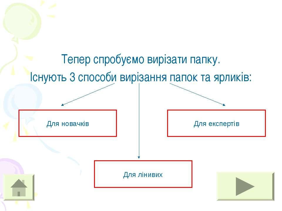 Тепер спробуємо вирізати папку. Існують 3 способи вирізання папок та ярликів:...