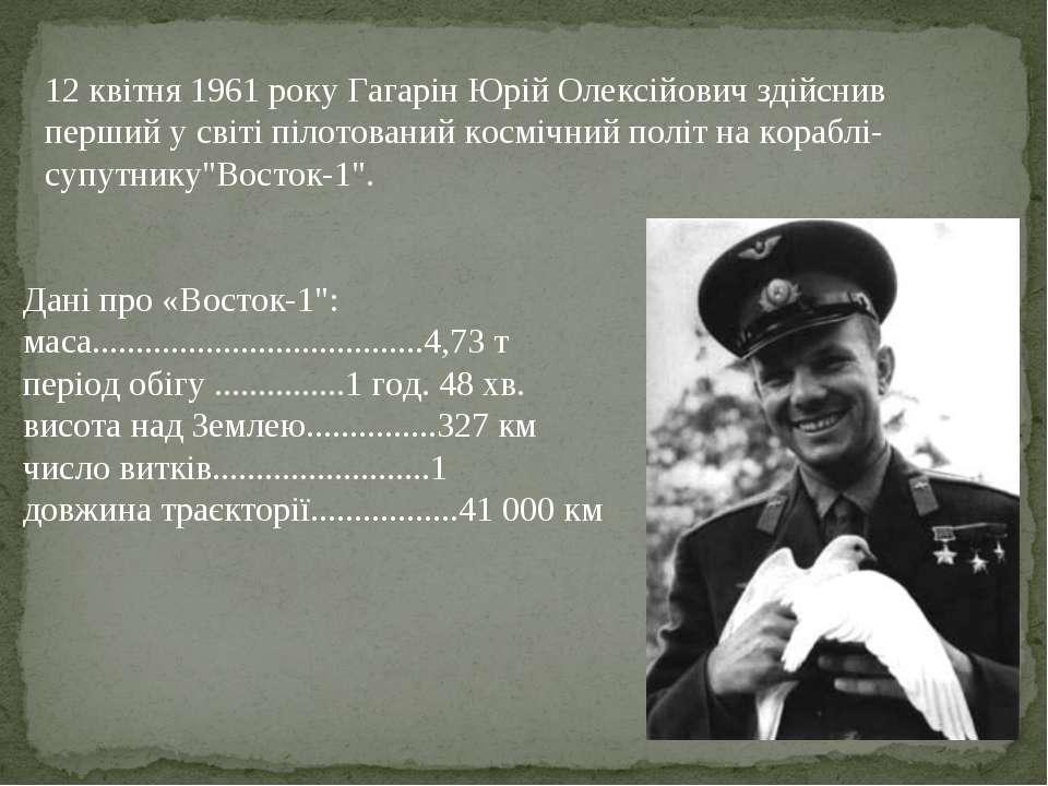 12 квітня 1961 року Гагарін Юрій Олексійович здійснив перший у світі пілотова...