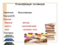 Класифікація полімерів Синтетичні: Искусственные: Каучуки(СК) Волокна -бавовн...