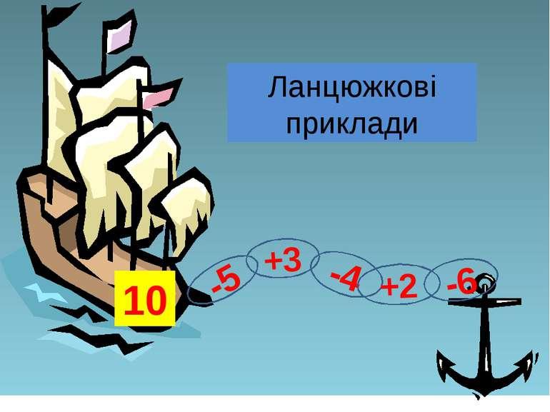 Ланцюжкові приклади -5 +3 -4 +2 -6 10