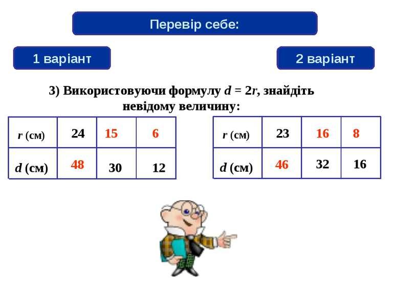 Перевір себе: 1 варіант 2 варіант 6 48 46 15 8 16 3) Використовуючи формулу d...