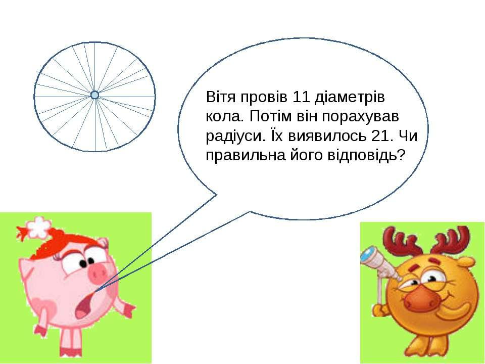 Вітя провів 11 діаметрів кола. Потім він порахував радіуси. Їх виявилось 21. ...