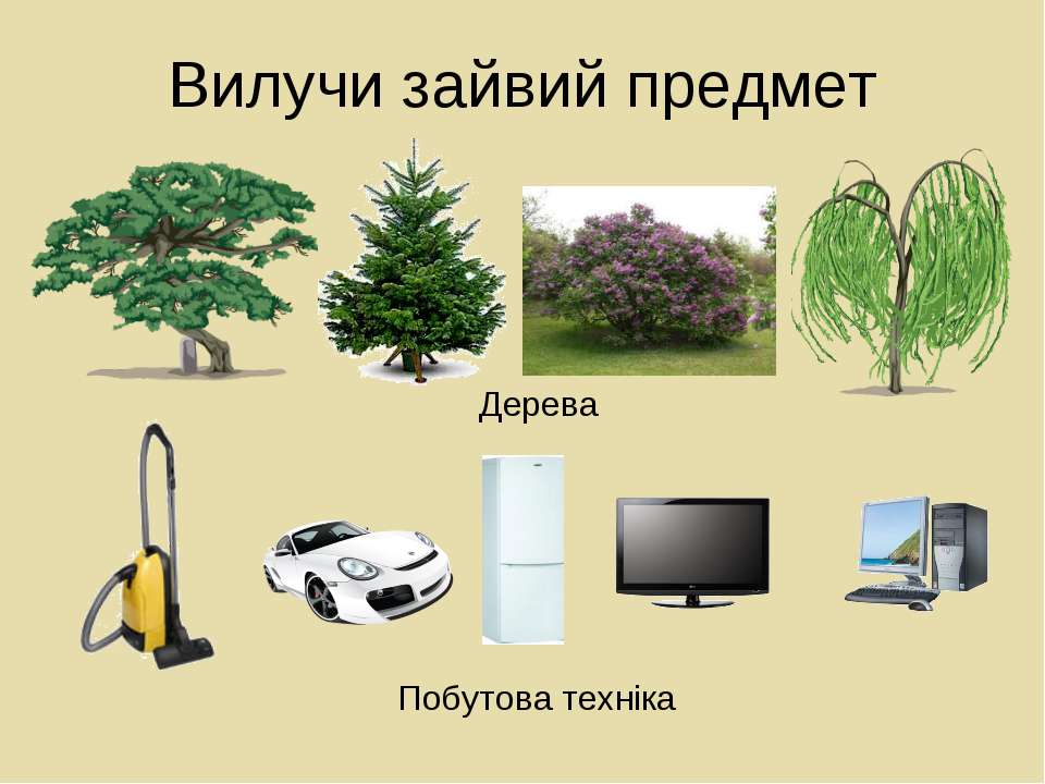 Вилучи зайвий предмет Дерева Побутова техніка