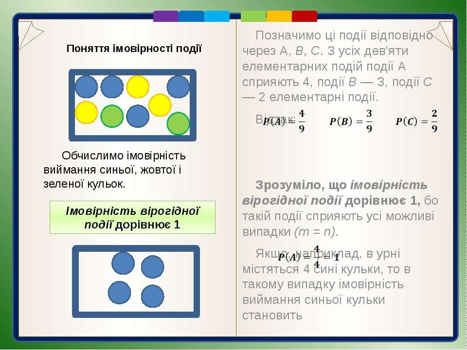 Обчислення імовірності подій Приклад 1. Кожна пластинка доміно поділена лініє...