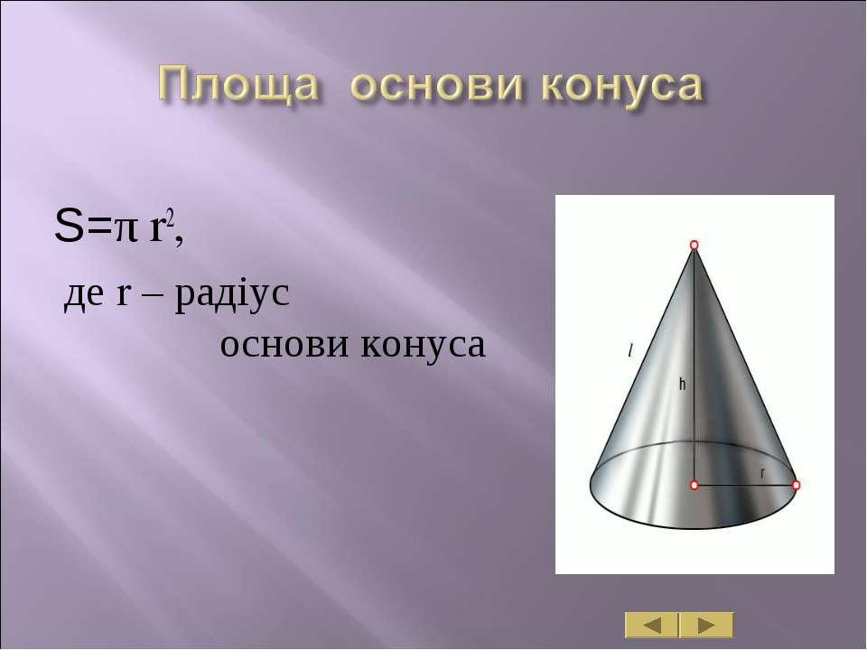 S=π r2, де r – радіус основи конуса