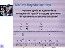 Магістр Неуважних Наук 0 1 х порівняв дроби та відмітив їх на координатній пр...