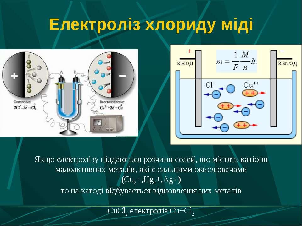 Електроліз хлориду міді Якщо електролізу піддаються розчини солей, що містять...