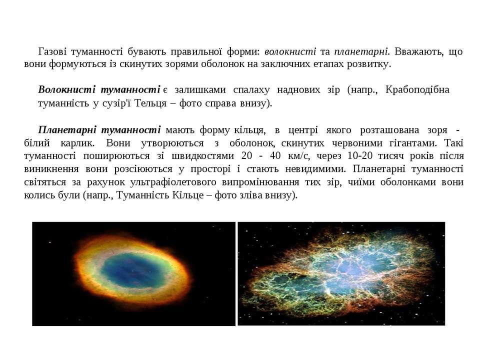 Газові туманності бувають правильної форми: волокнисті та планетарні. Вважают...