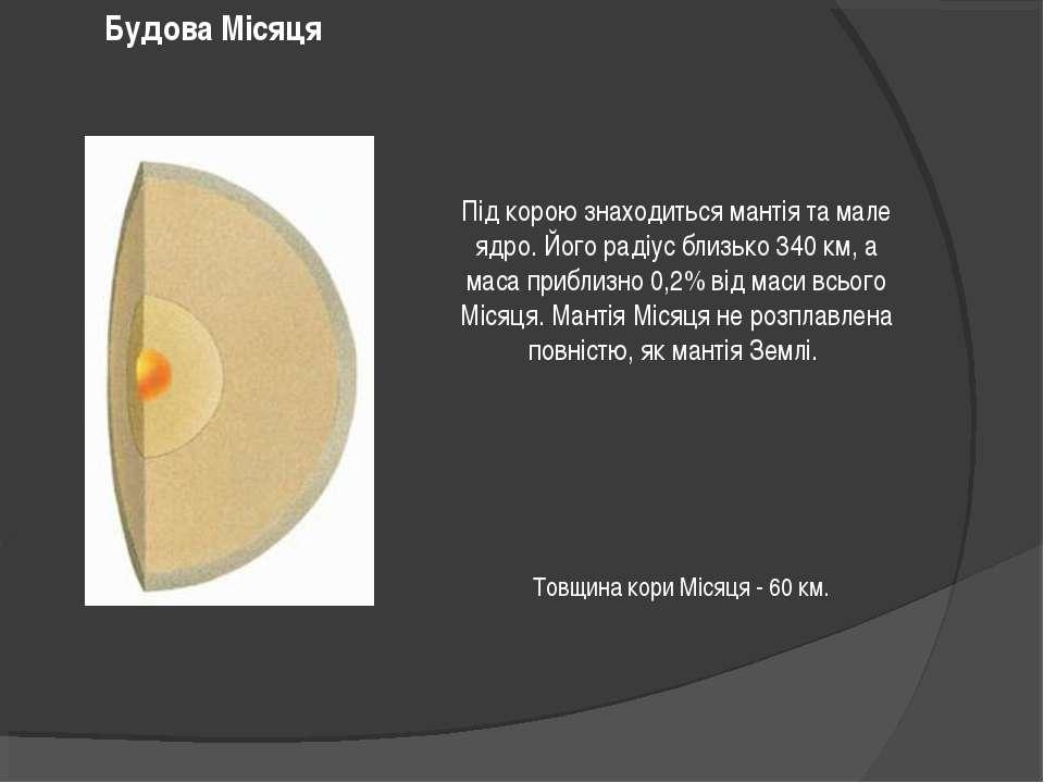 Під корою знаходиться мантія та мале ядро. Його радіус близько 340 км, а маса...