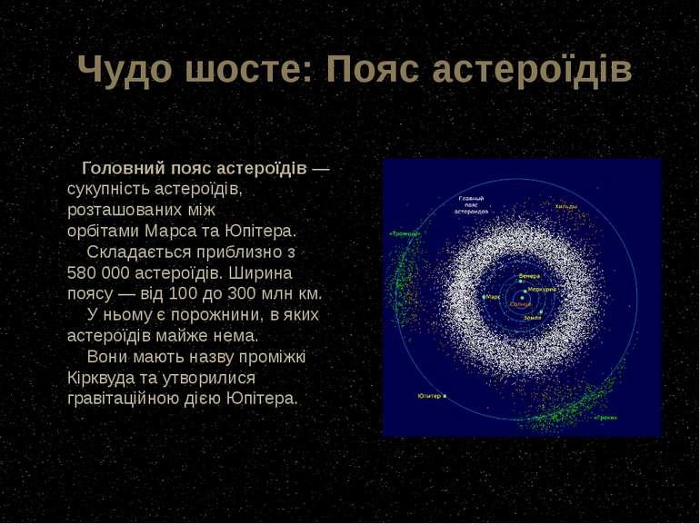 Чудо шосте: Пояс астероїдів Головний пояс астероїдів— сукупністьастероїдів,...