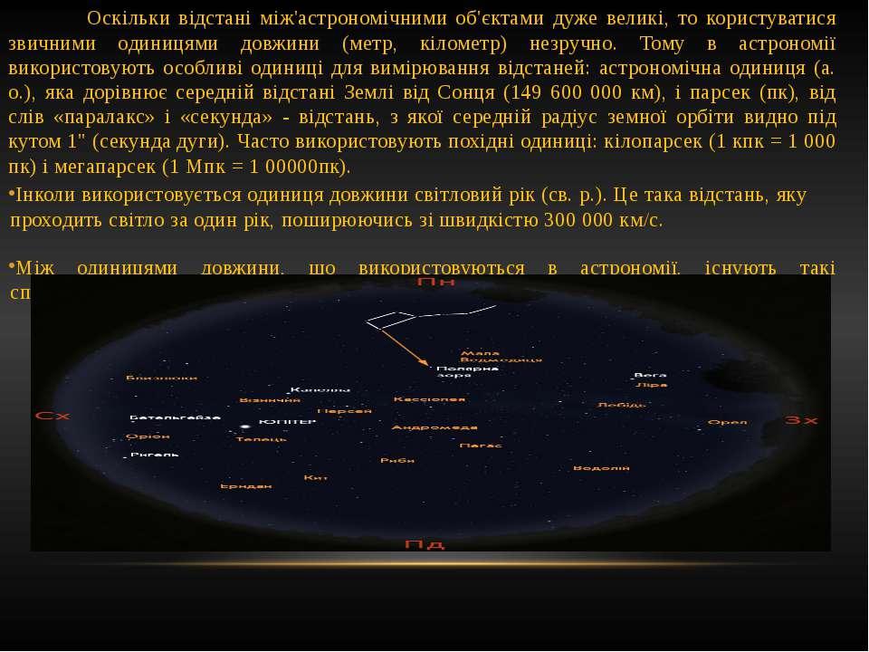 Оскільки відстані між'астрономічними об'єктами дуже великі, то користуватися ...