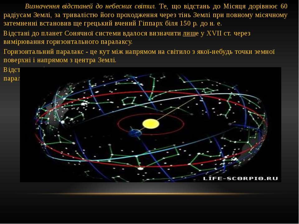 Визначення відстаней до небесних світил. Те, що відстань до Місяця дорівнює 6...