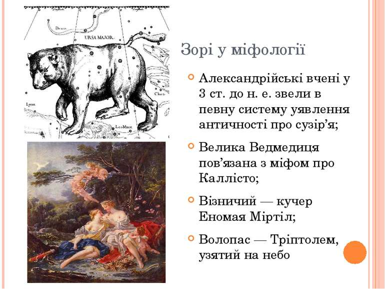 Зорі у міфології Александрійські вчені у 3 ст. до н. е. звели в певну систему...